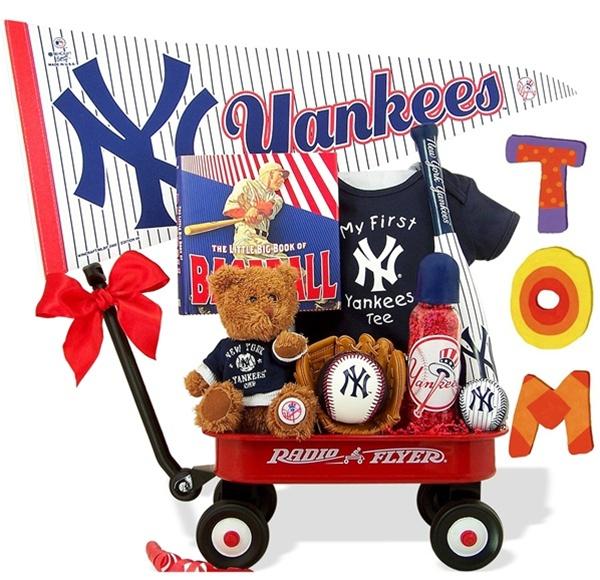 NY Yankees Baseball Baby Boy Wagon Gift Set, Major League Baseball, Shower Gift