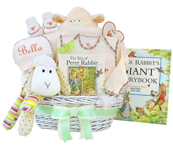 Personalized Organic Lullabies & Tales Extravagant Baby Gift Basket