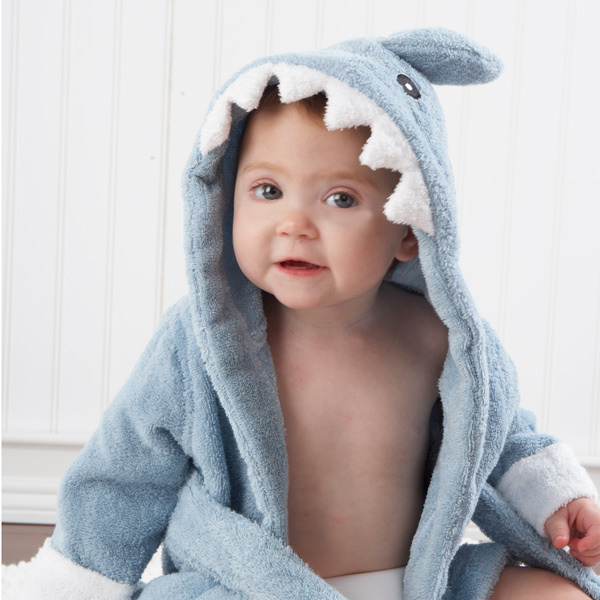 Terry Cloth Grey Shark Baby Bath Robe