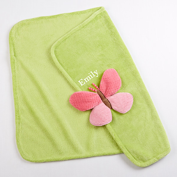 Personalized Plush Butterfly Velour Baby Girl Security Blanket