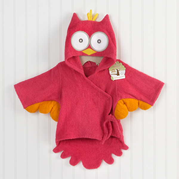 Nighty Night Owl Hooded Baby Girl Terry Spa Robe