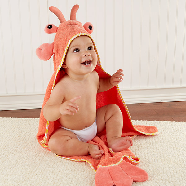 Personalized maine lobster bath time baby hooded towel unique personalized maine lobster bath time baby hooded towel negle Choice Image