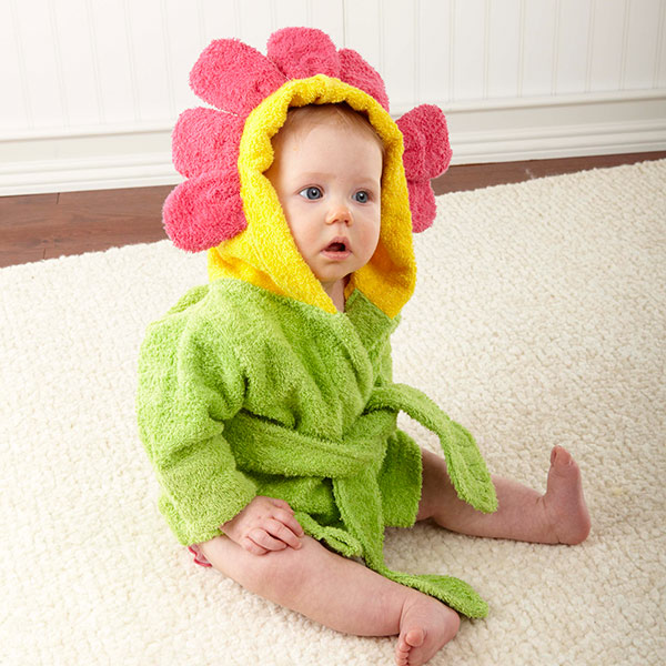 Flower Power Hooded Baby Girl Bath or Pool Robe