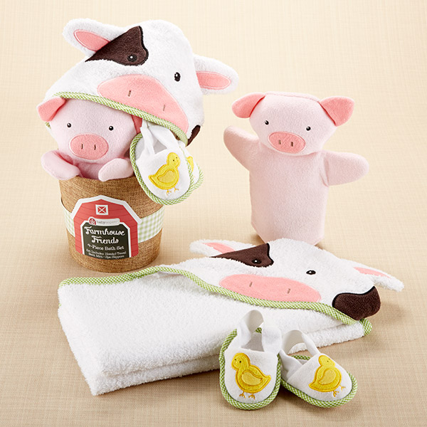 Farmhouse Friends Cow, Pig and Chicks: 3-Piece Bath-time Bucket Gift Set