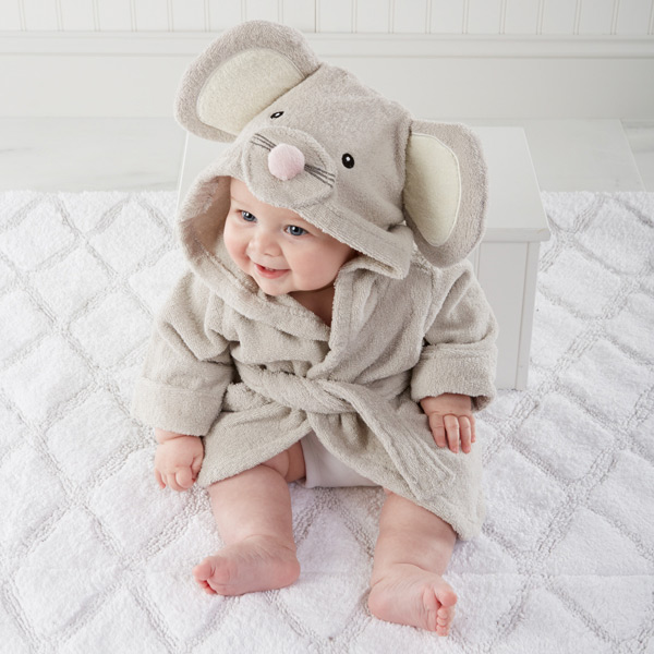 Squeaky Clean Mouse Hooded Spa Baby Robe Boy or Girl