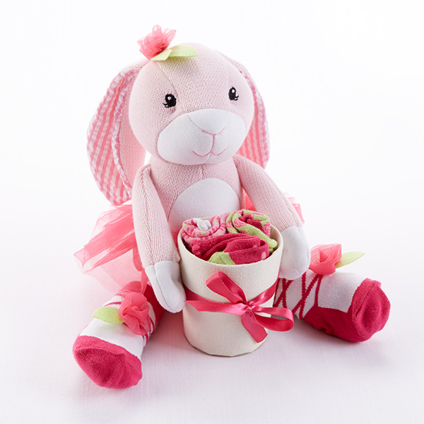 Pink Plush Baby Bunny Hop-in-Socks Gift Set