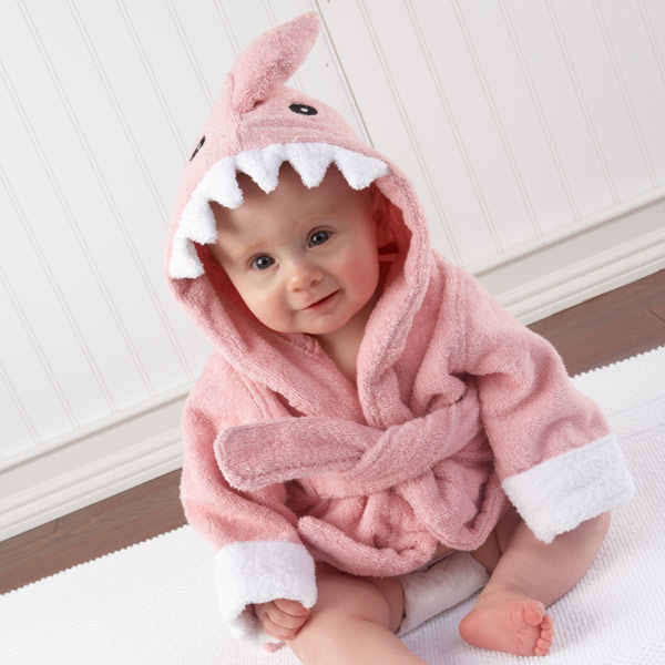 Terry Cloth Pink Shark Baby Bath Robe
