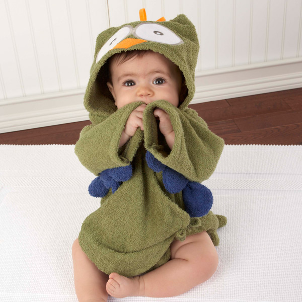 Nighty Night Owl Bath Time Hooded Baby Spa Robe