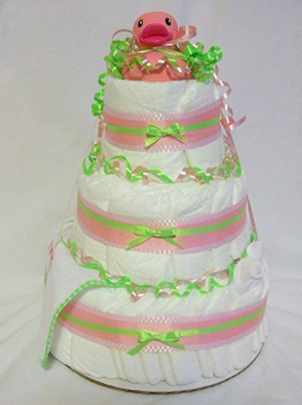 Baby Girl Pink Ducky Diaper Cake