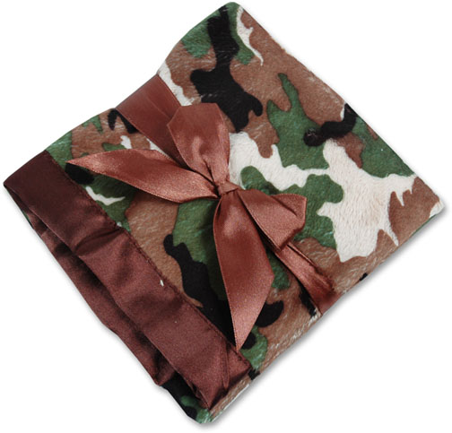 Personalized Camouflage Chocolate Receiving/Security Baby Blanket