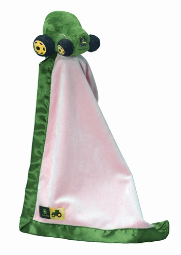 Personalized Cuddly Pink John Deere Tractor Nummy Baby Blankey