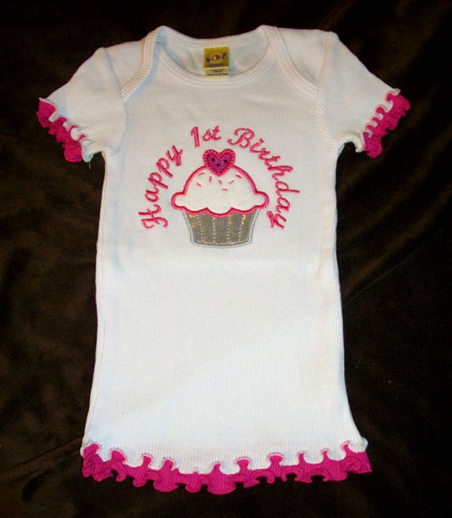 Babies First Birthday Tee With Sweetheart Cupcake