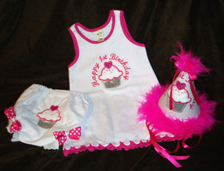 Babies First Birthday Sweetheart Cupcake Dress Set