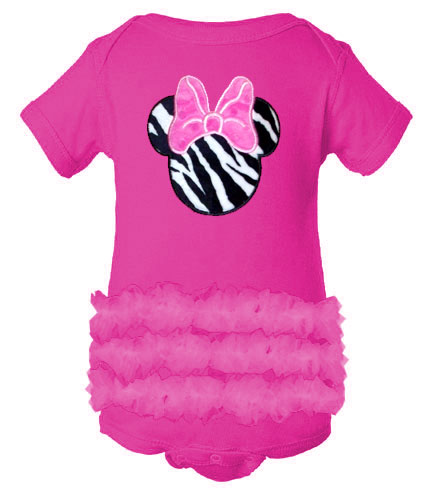Miss Mouse Hot Pink Ruffled Tutu Baby Girl Onesie
