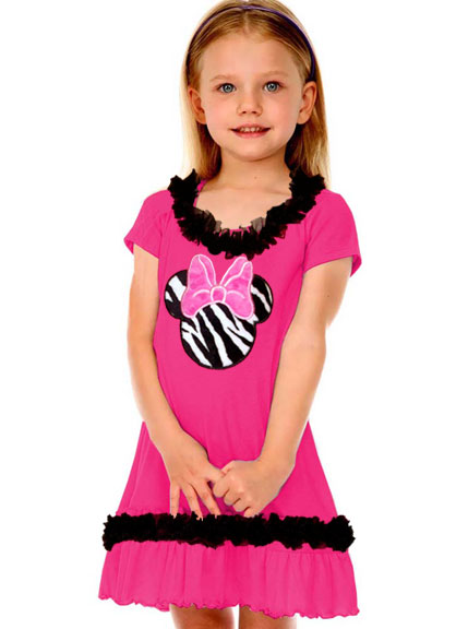 Girls Zebra Miss Mouse Short Sleeve Ruffled Dress