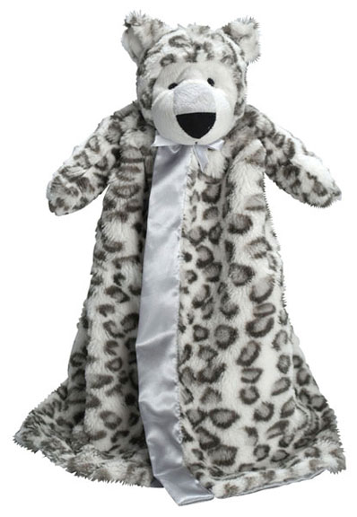 Personalized Snow Leopard Plush Security Blanket