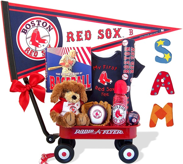 Baby gift baskets personalized unique new baby gift boston red sox personalized baby wagon gift set negle Image collections