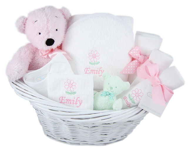 Personalized Deluxe Baby Girl Gift Basket