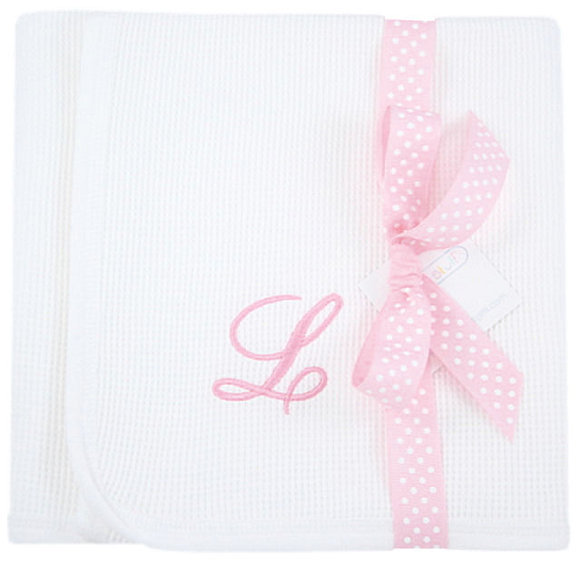 Personalized baby girl blankets and lovies receiving blankets baby girls monogrammed waffle knit receiving blanket negle Gallery